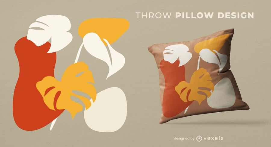 Abstract organic leaves throw pillow design