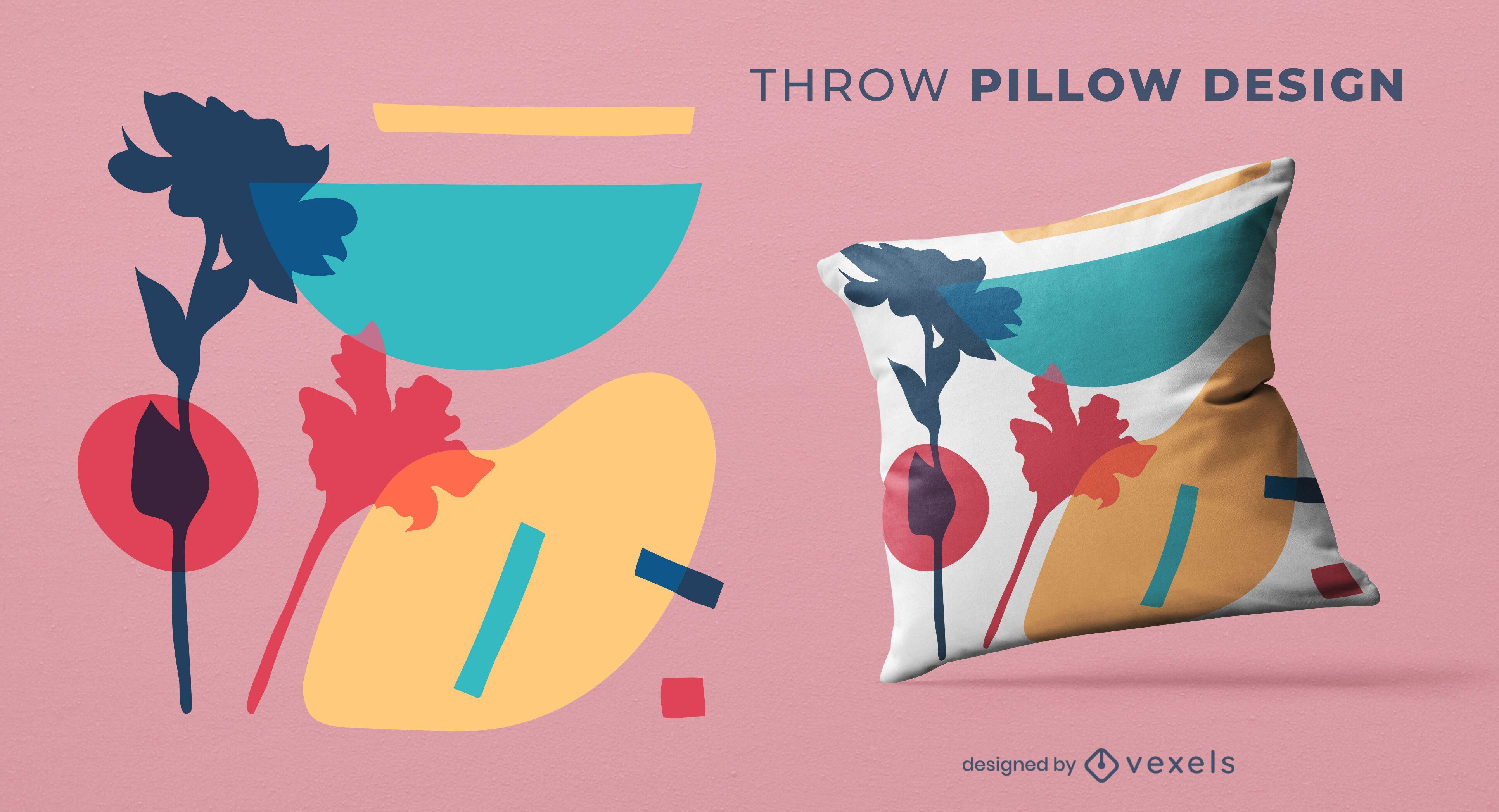 Diseño de almohada de tiro abstracto colorido