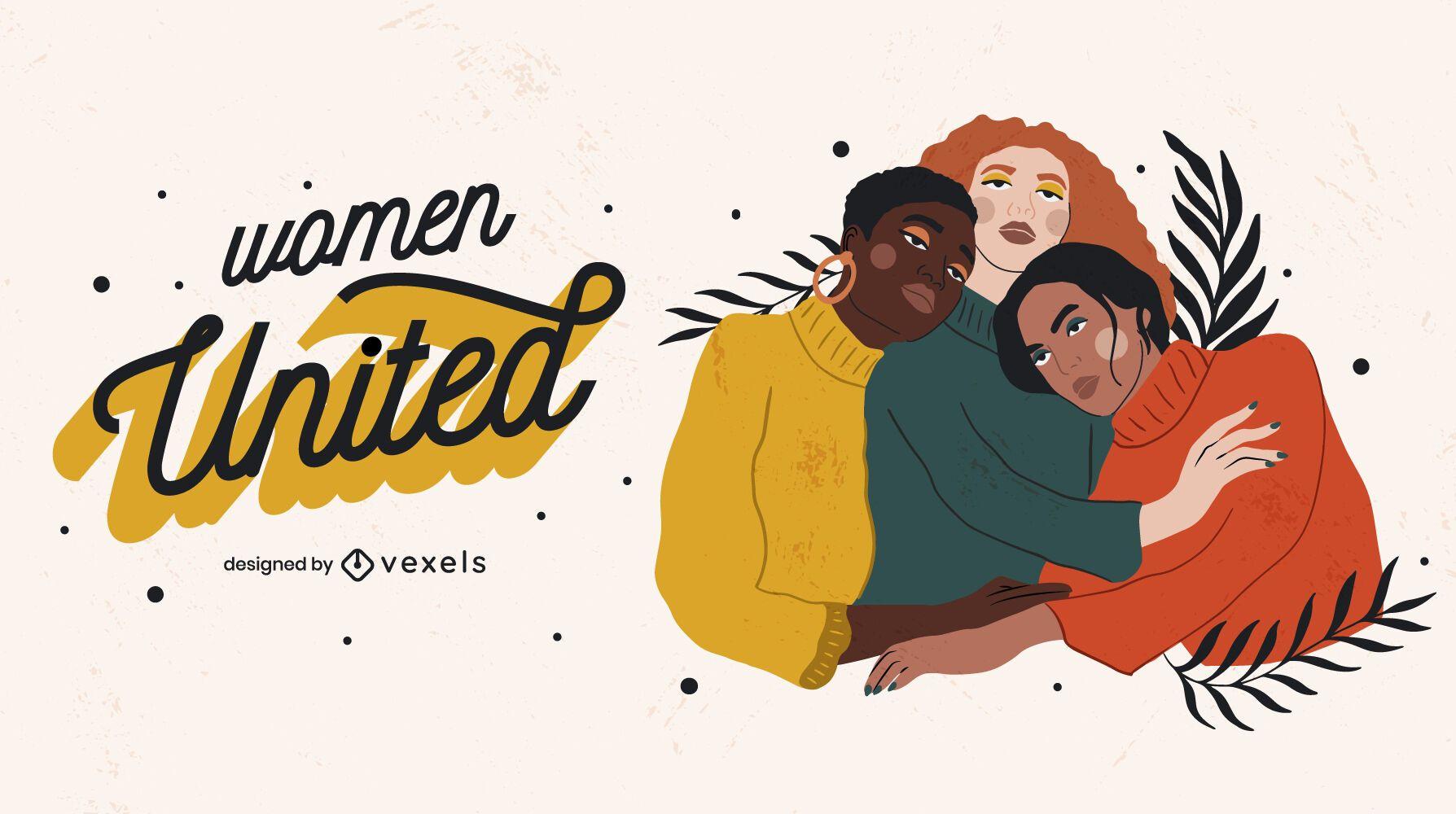 Women hugging illustration