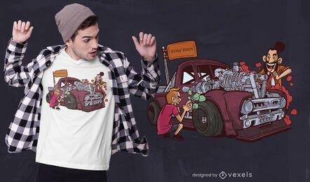 Diseño de camiseta de pintura de coche.