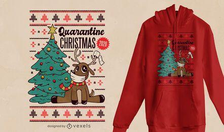 Design de t-shirt de Natal 2020 da quarentena