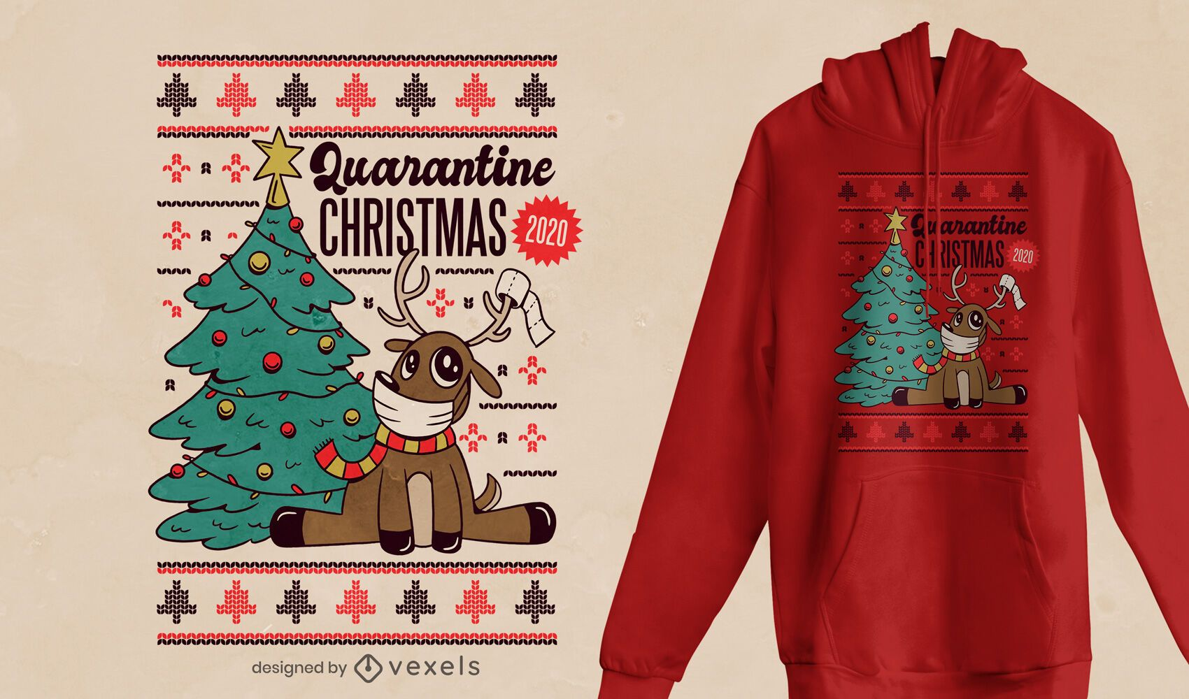Quarantine xmas 2020 t-shirt design