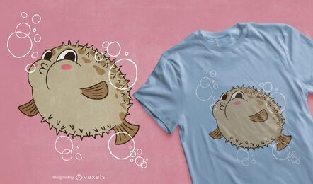 Lindo diseño de camiseta de pez globo