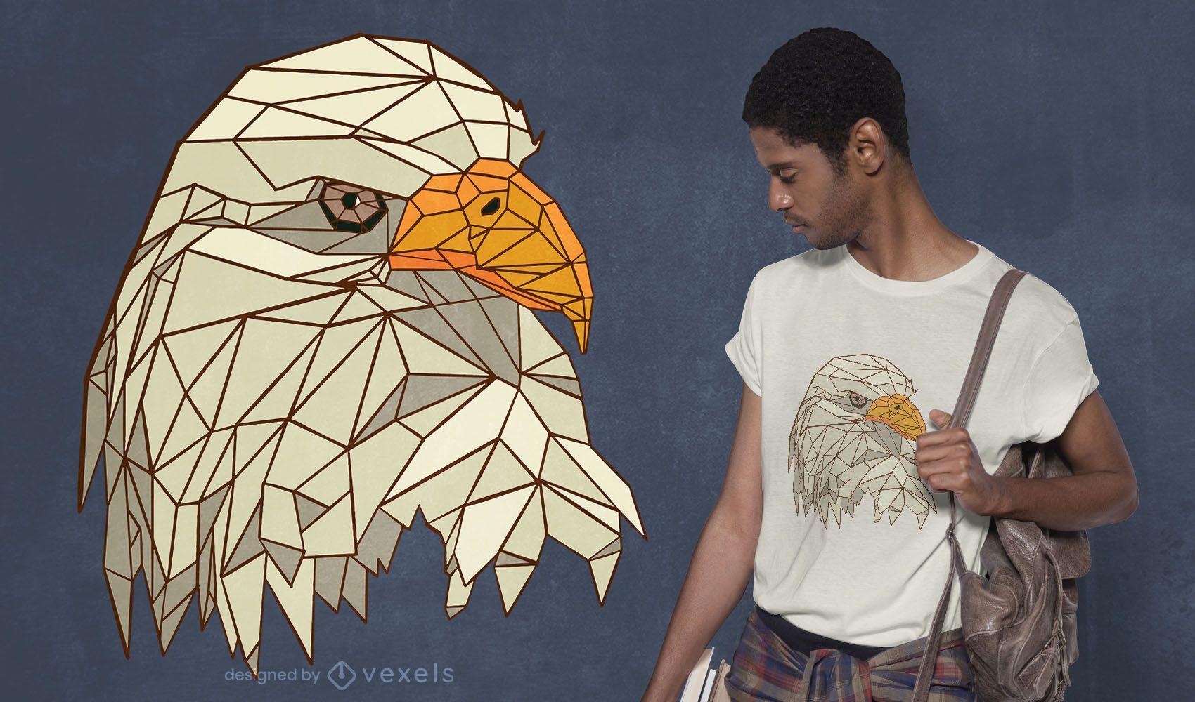 Low poly eagle t-shirt design