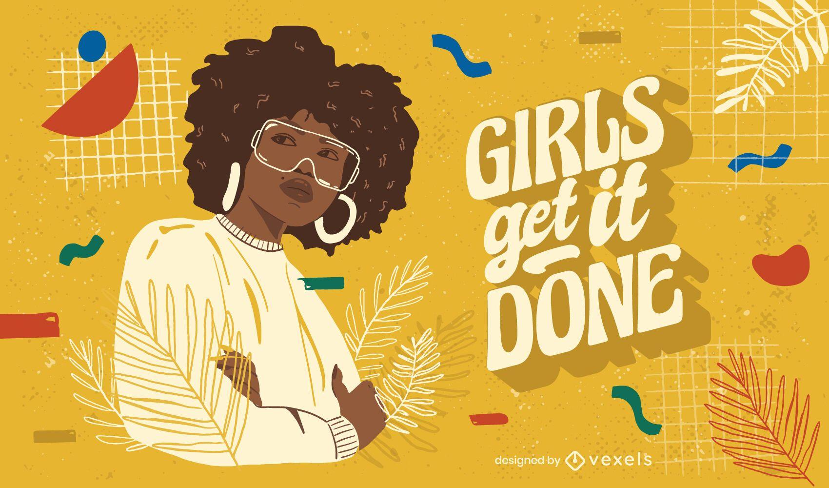 Girls get it done illustration