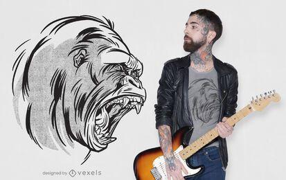 Design de camiseta gorila rujir
