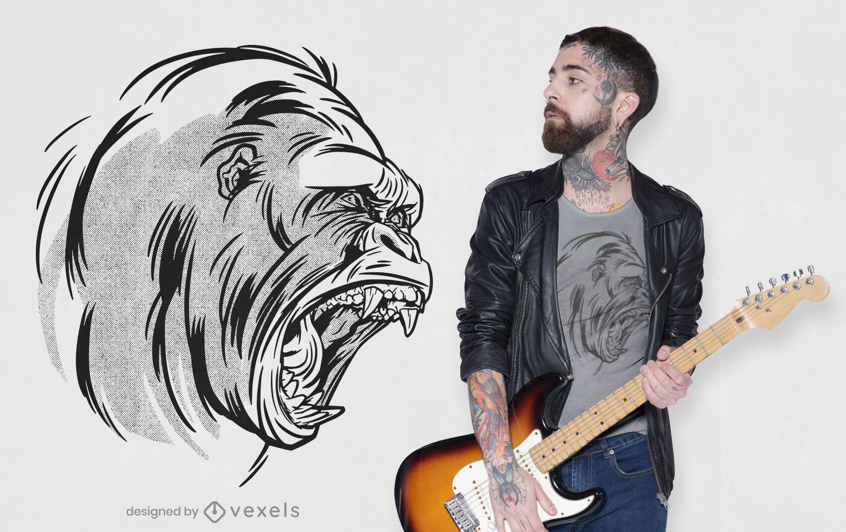 Gorilla roaring t-shirt design