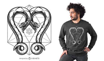Diseño de camiseta de serpientes geométricas.