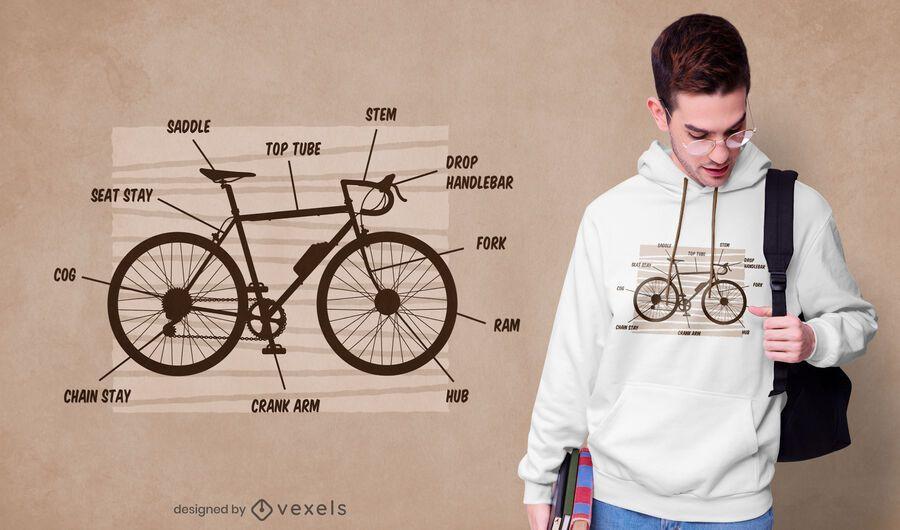 Design de t-shirt de anatomia de bicicleta