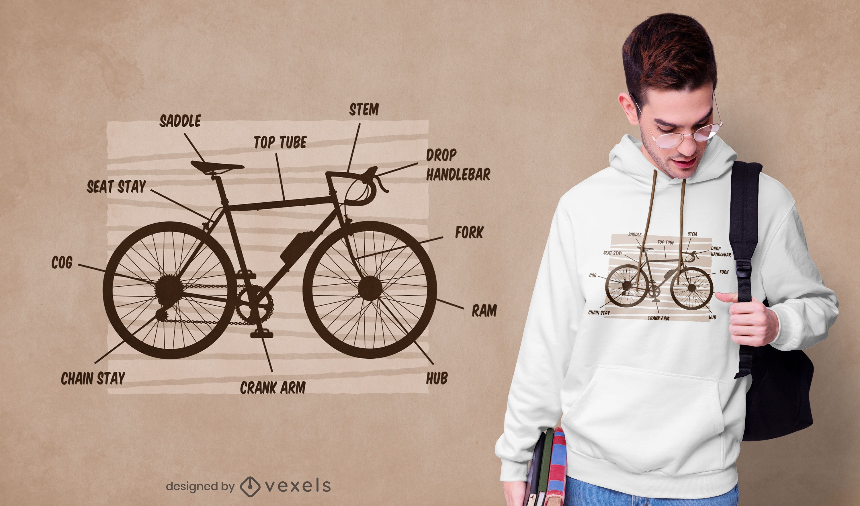 Diseño de camiseta de anatomía de bicicleta.