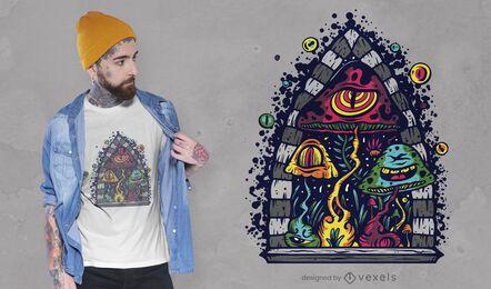 Trippy mushrooms t-shirt design