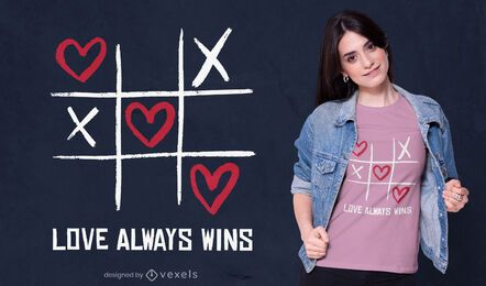 Ame sempre ganhe design de camisetas