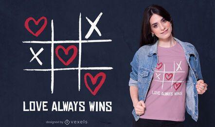 El amor siempre gana diseño de camiseta.