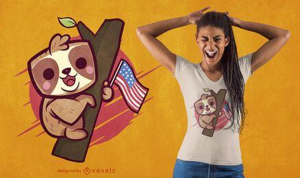 Design fofo de camiseta de preguiça patriótica