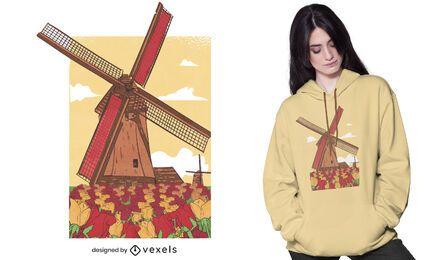 Diseño de camiseta de molino de viento holandés