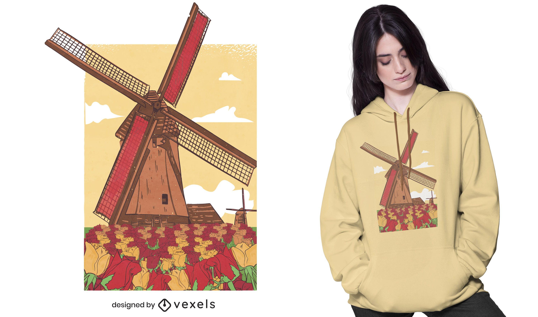 Dutch windmill t-shirt design