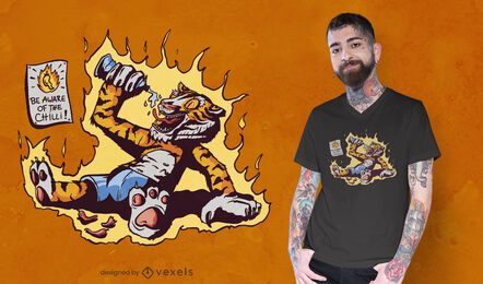 Diseño de camiseta hot chilli tiger