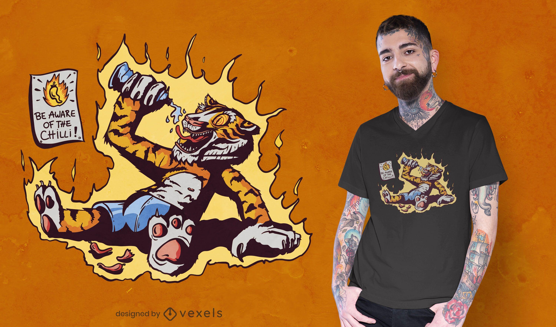 Dise?o de camiseta hot chilli tiger