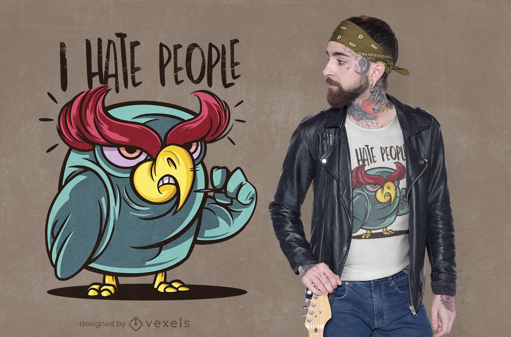 Hateful owl t-shirt design