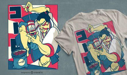 Diseño de camiseta de café samurai.