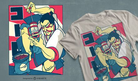 Samurai Kaffee T-Shirt Design