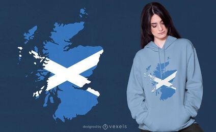 Diseño de camiseta de mapa de Escocia