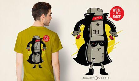Diseño de camiseta Ctrl z cyborg