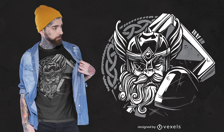 Dise?o de camiseta de martillo vikingo.