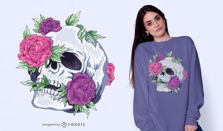 Diseño de camiseta de calavera de flores
