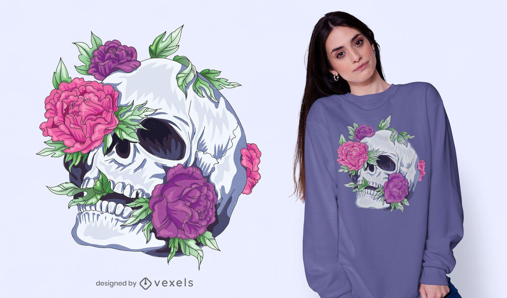 Flowers skull t-shirt design