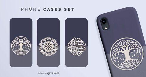 Conjunto de capas de telefone com símbolos nórdicos