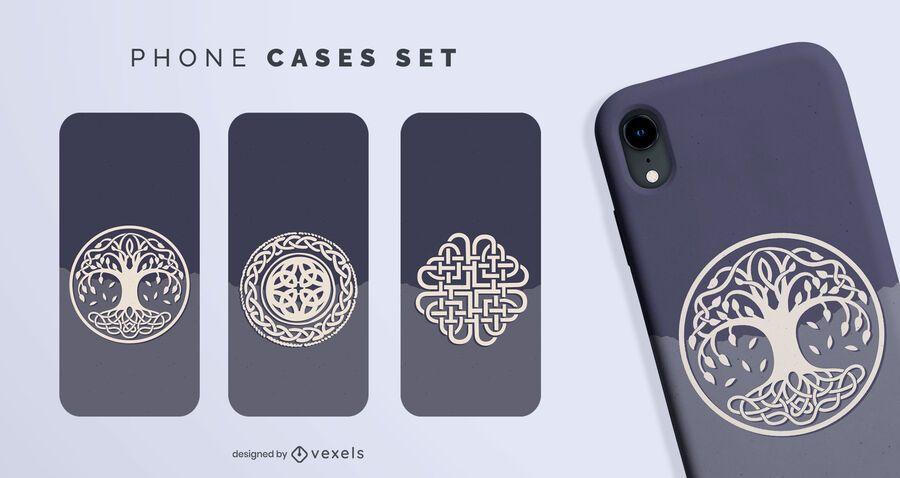 Conjunto de fundas de teléfono con símbolos nórdicos