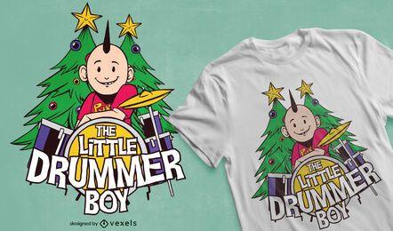 Diseño de camiseta de niño pequeño baterista