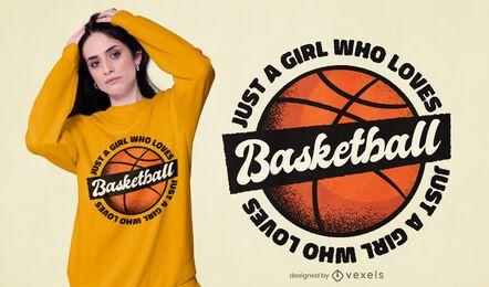 Girl loves basketball t-shirt design