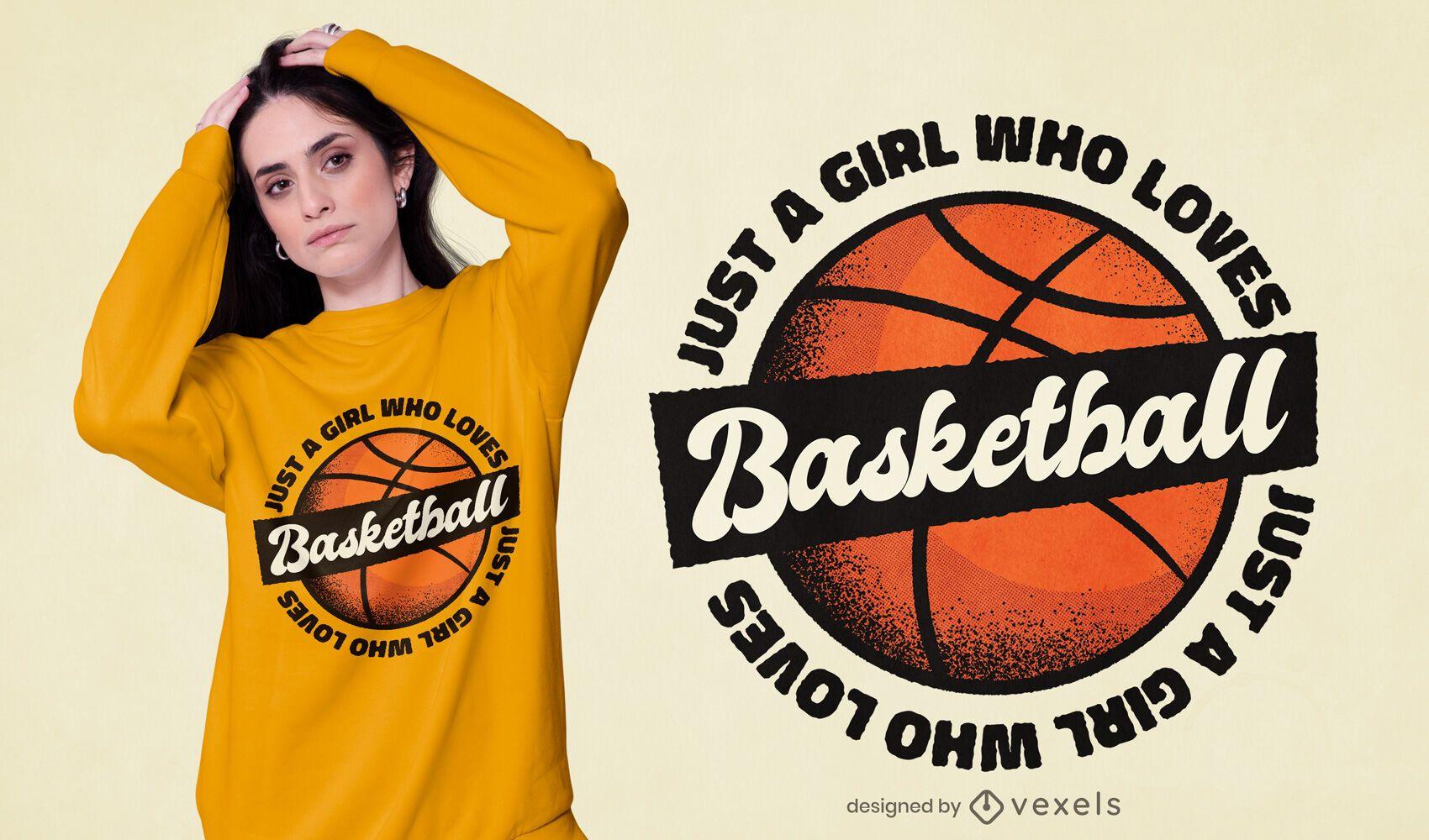 A menina adora o design de camisetas de basquete