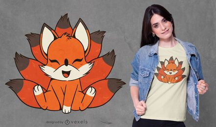 Diseño de camiseta de criatura Kitsune