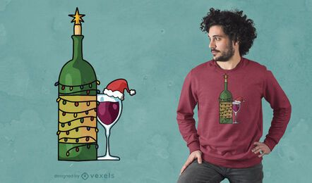 Christmas wine glass t-shirt design