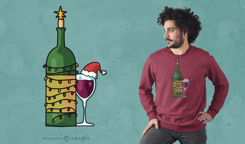 Diseño de camiseta de copa de vino navideña.