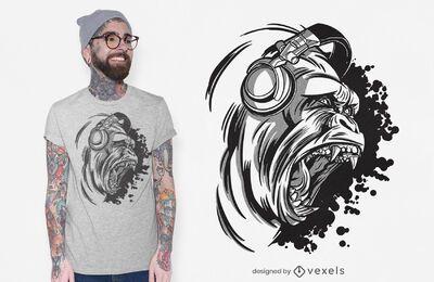 Diseño de camiseta dj gorilla