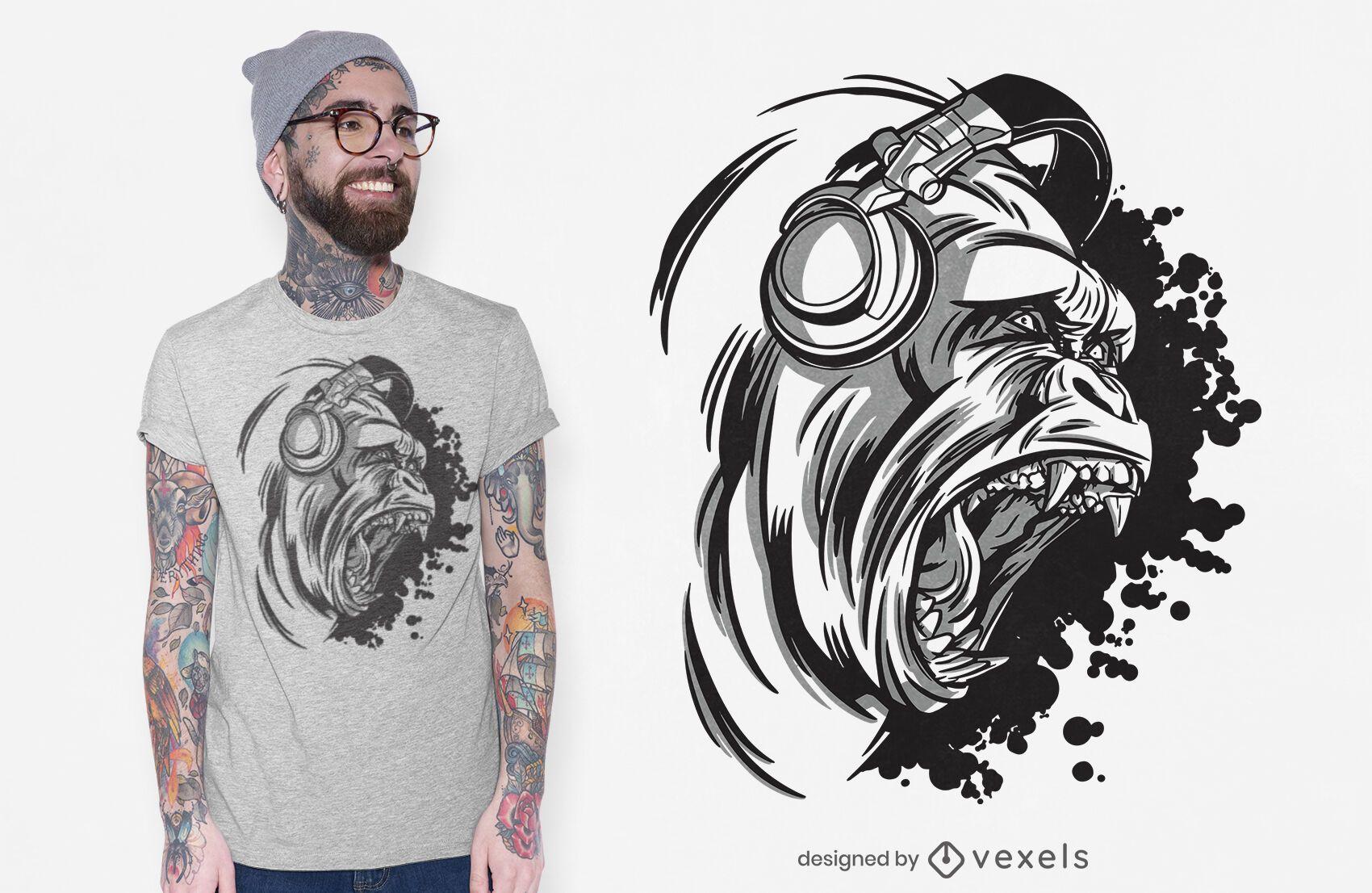 Dj gorilla t-shirt design