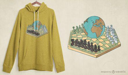 Diseño de camiseta del mundo del ajedrez.