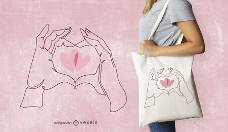 Hands heart tote bag design
