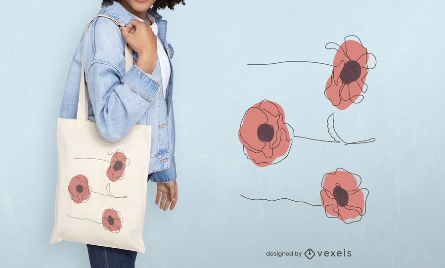 Abstract flowers tote bag design