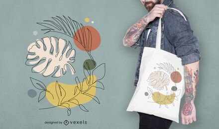 Leaves abstract tote bag design