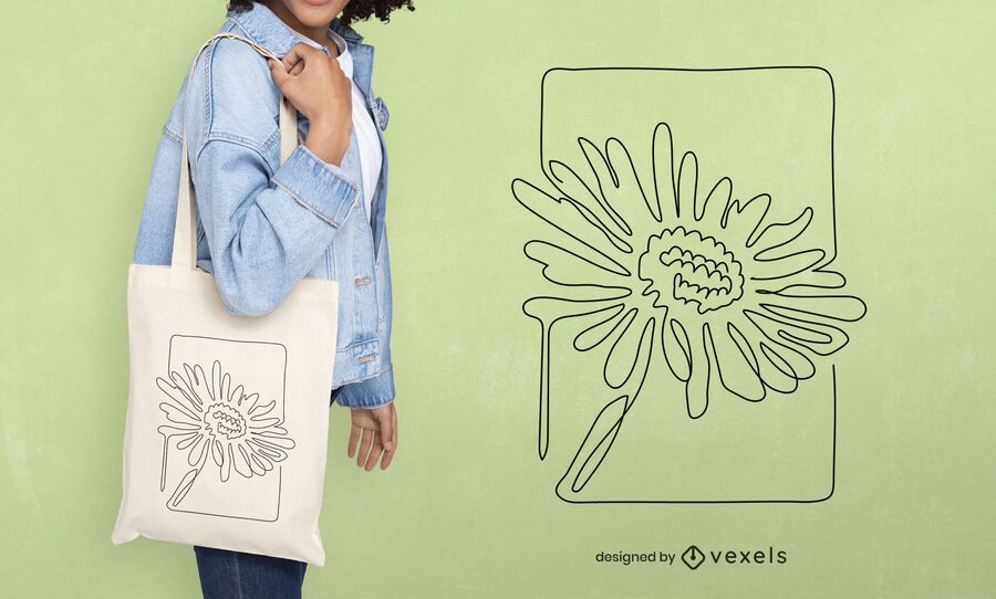 Continuous line flower tote bag design
