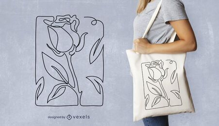 Continuous line rose tote bag design
