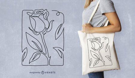 Design de bolsa rosa de linha contínua