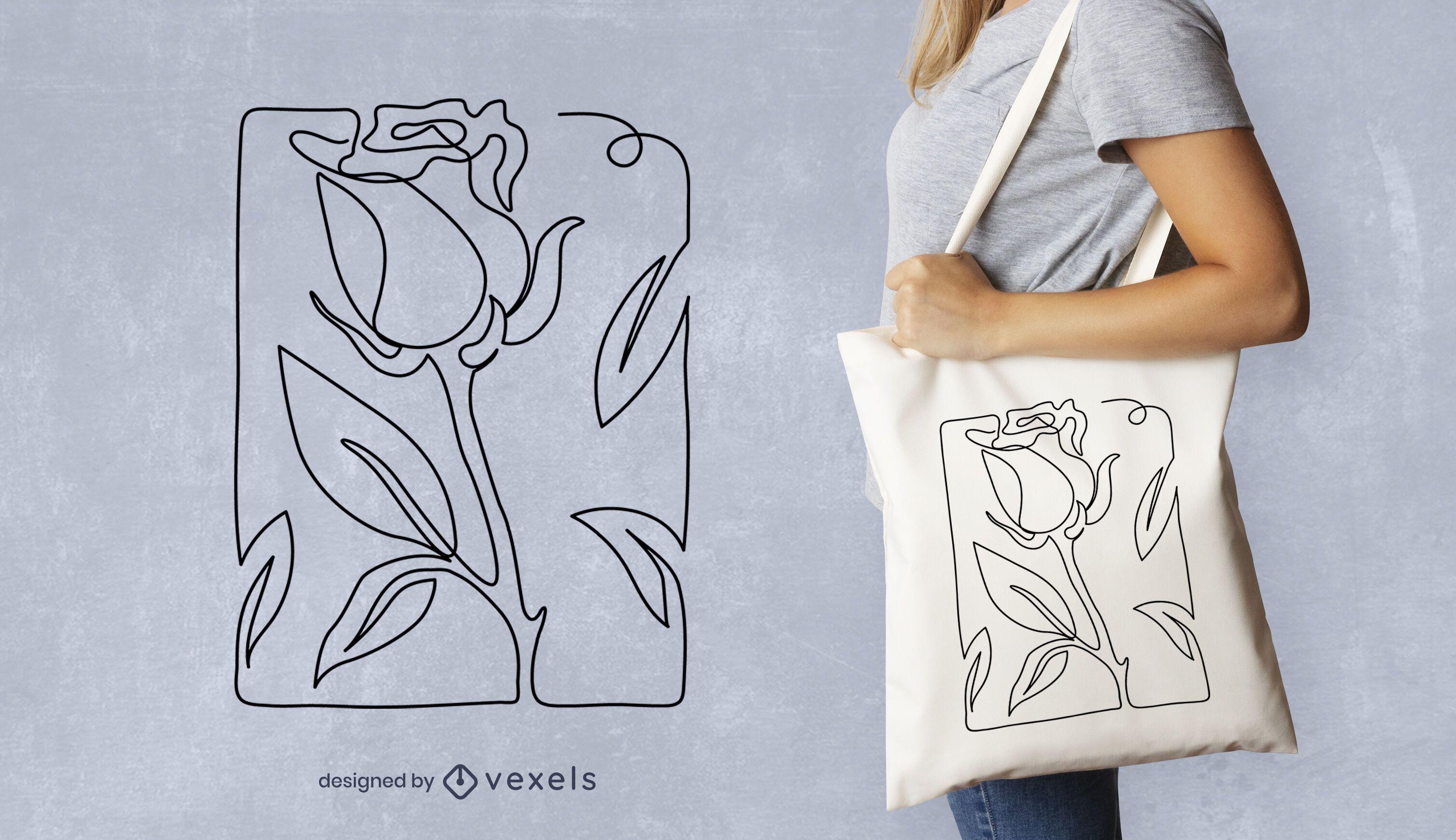 Continuous line rose tote bag design
