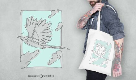 Continuous line bird tote bag design