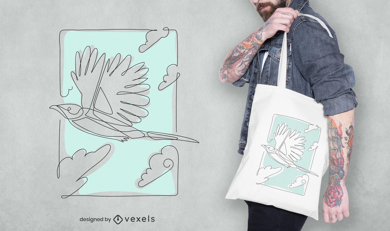 Diseño de bolso tote de pájaro de línea continua